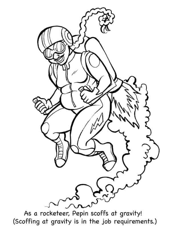Fat Ladies in Spaaaaace Coloring Book  Jet Pack Page