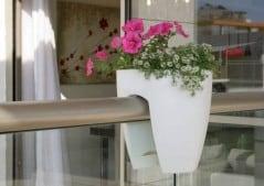 Modern planter for the modern railing.