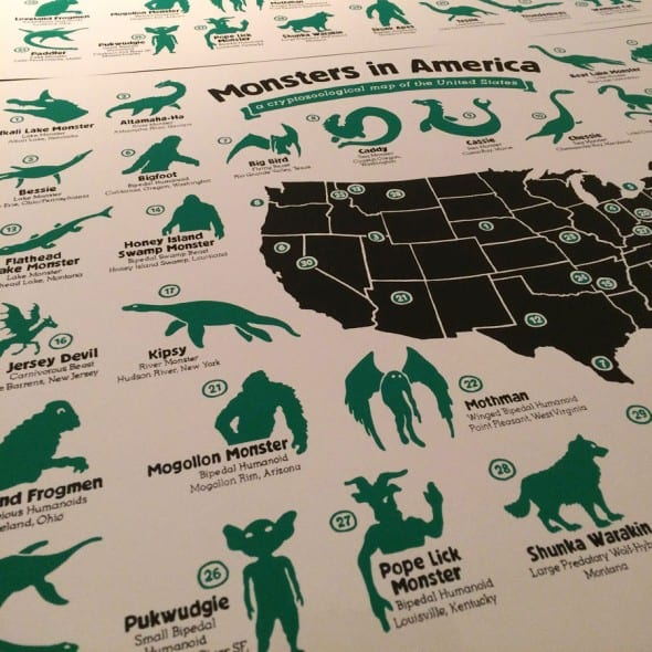 Hog Island Press Monsters in America Cryptozoological Map  Cool Stuff To Buy