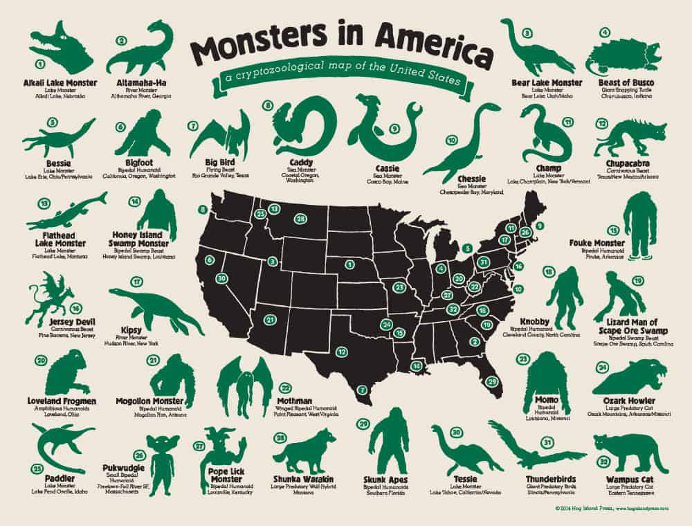 Hog Island Press Monsters in America Cryptozoological Map  Geek Gift to Buy