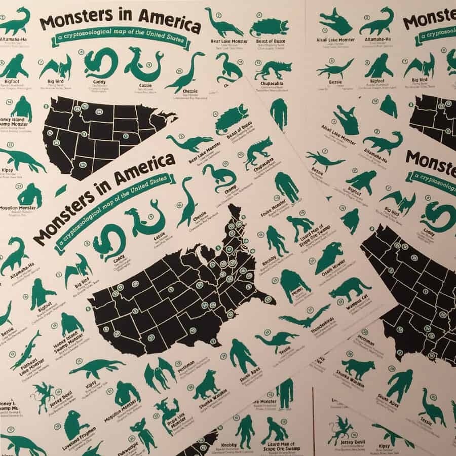 Hog Island Press Monsters in America Cryptozoological Map Unique Gift Idea for Kids
