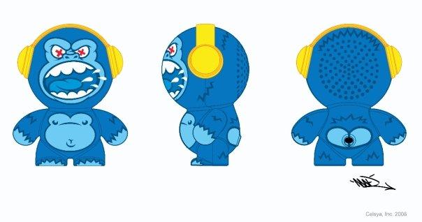 Mobi Headphonies Portable Speakers Monkey Novelty Toy Drawing