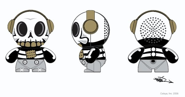 Mobi Headphonies Portable Speakers Skull Novelty Toy Drawing
