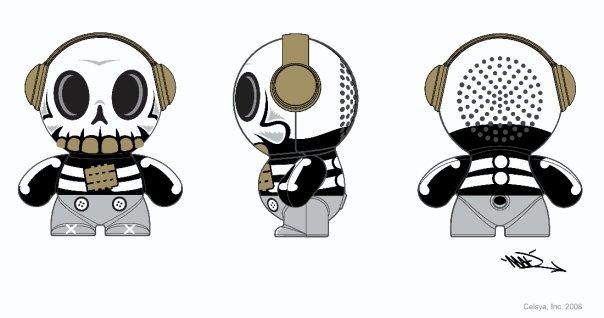 Mobi Headphonies Portable Speakers Skull Novelty Toy Drawing