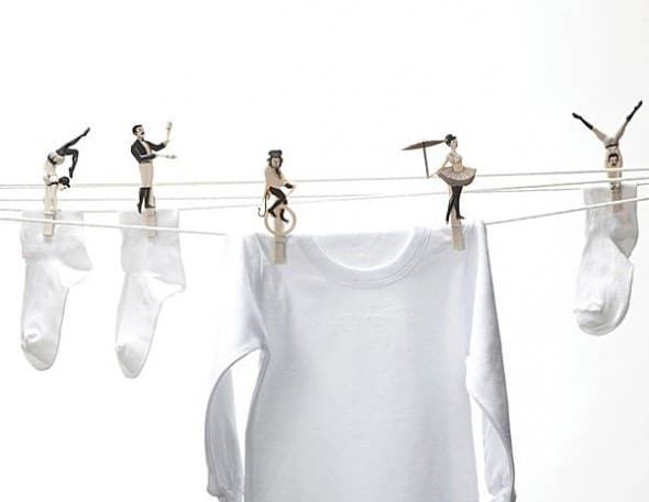 Mix a little circus act while drying your clothes