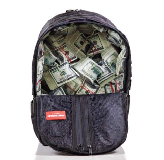 Sprayground $tashed Money Black Backpack Cool Bag for College