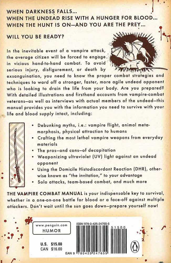 The Vampire Combat Manual A Guide to Fighting the Bloodthirsty Undead Interesting Book