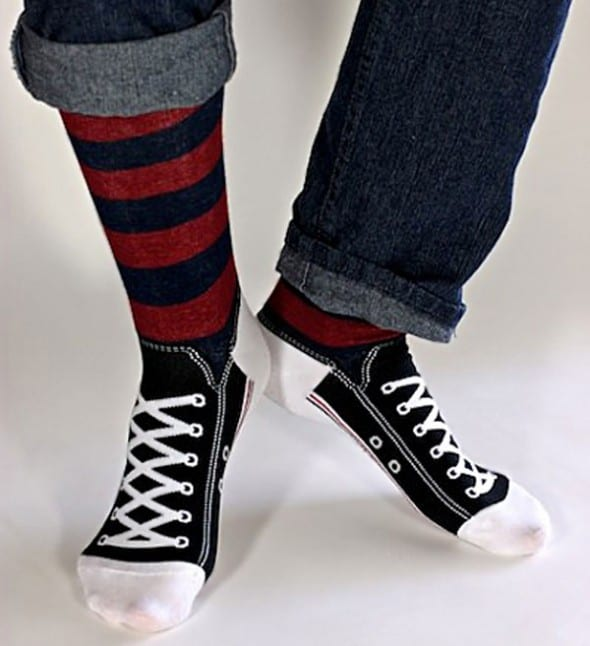 Shoes that are made of socks.