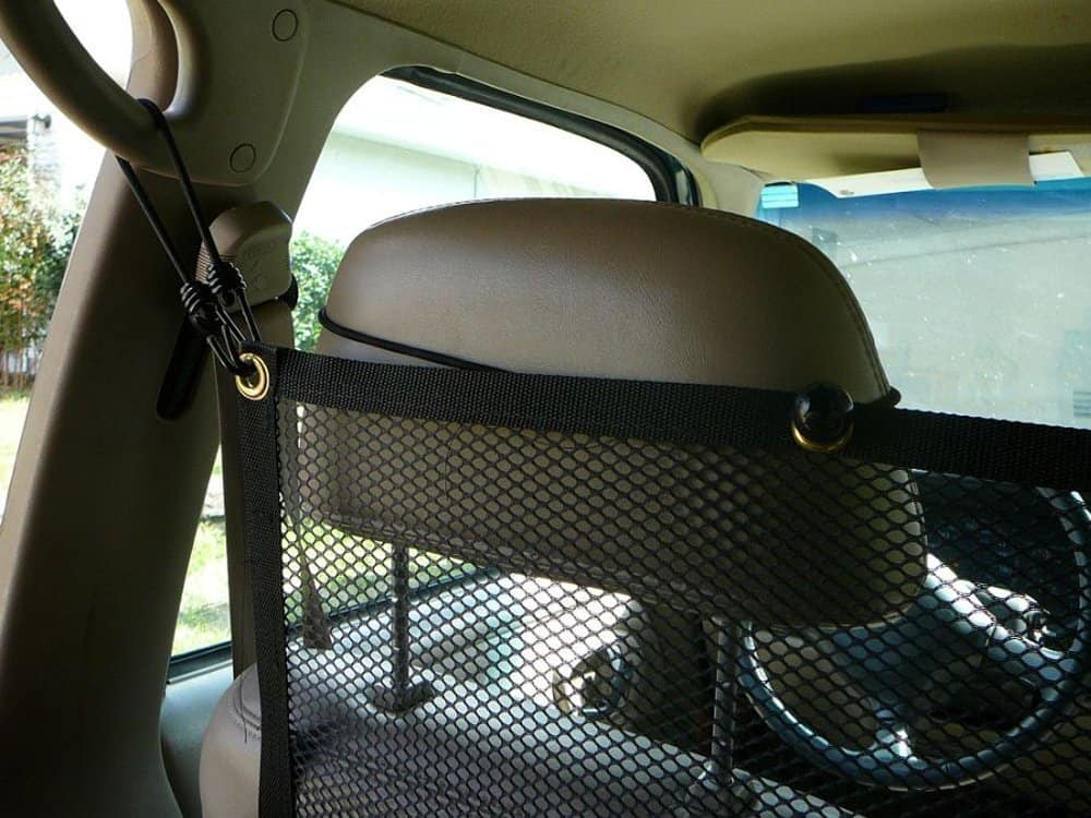 Pet Net Safety Barrier Dog at the Back of the Car