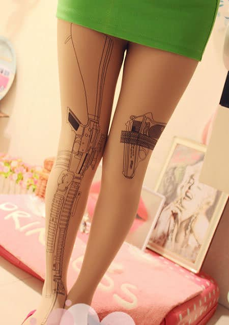 Rifle Tattoo Tights Attract Attention