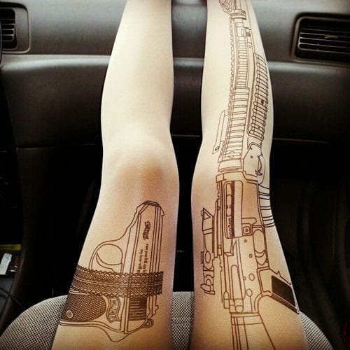 Rifle Tattoo Tights Cool Women Fashion to Buy