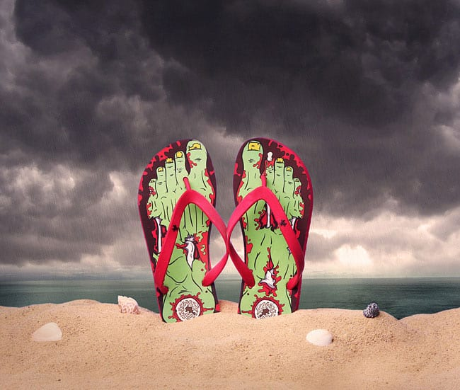 Thinkgeek Fresh Zombie Feet Cool Flip Flops to Buy