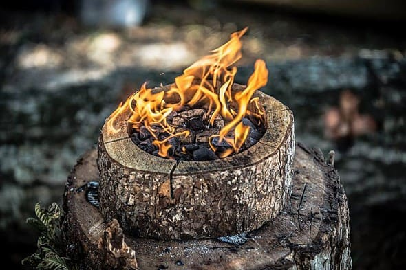 All wood self-burning grill.