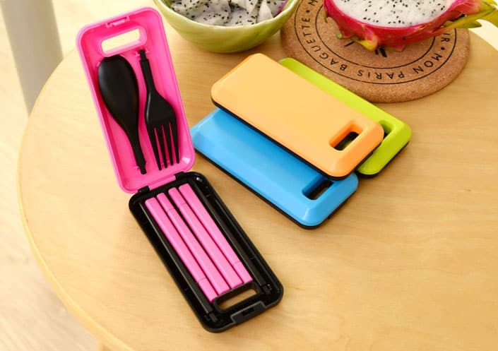 Colorful eating utensils for people on the go.