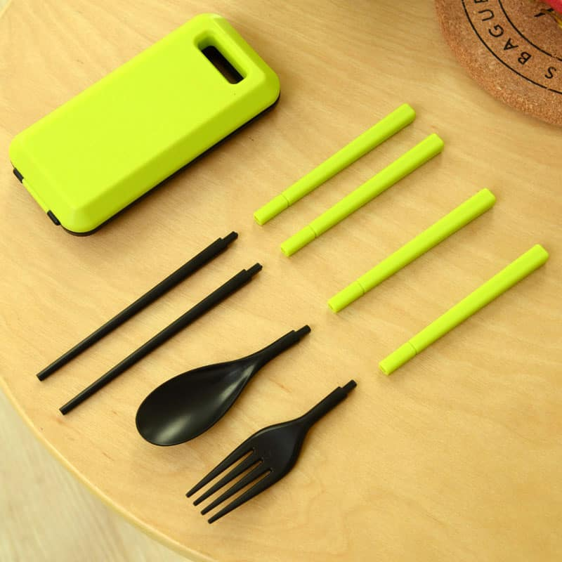 Travel Utensil Set Trendy Green Spoon and Fork