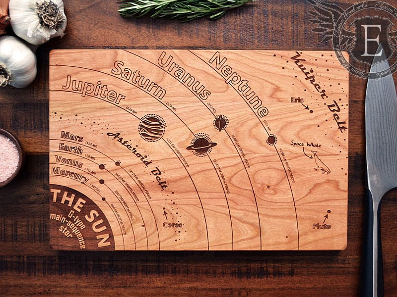 Elysium Woodworks Solar System Diagram Cutting Board Space Themed Kitchen