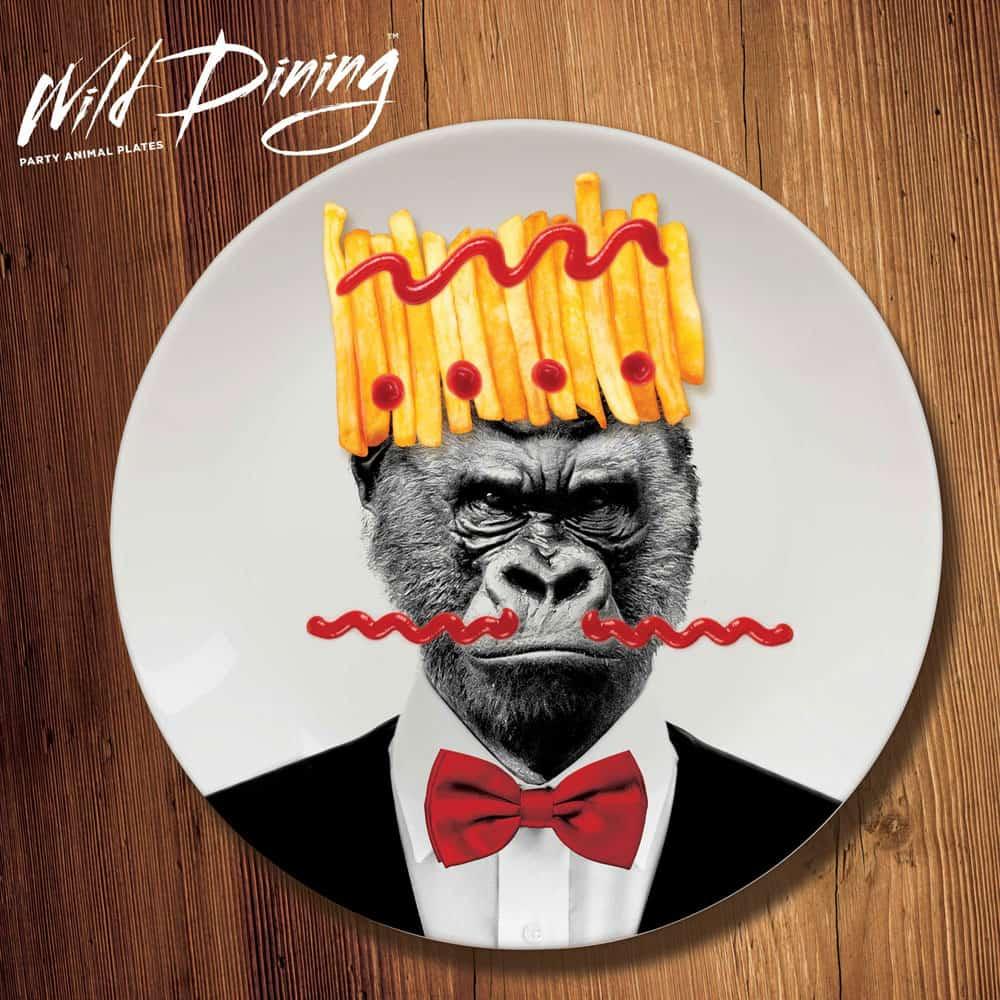 Mustard Wild Dining Dinner Plate  Gorilla in a Suit