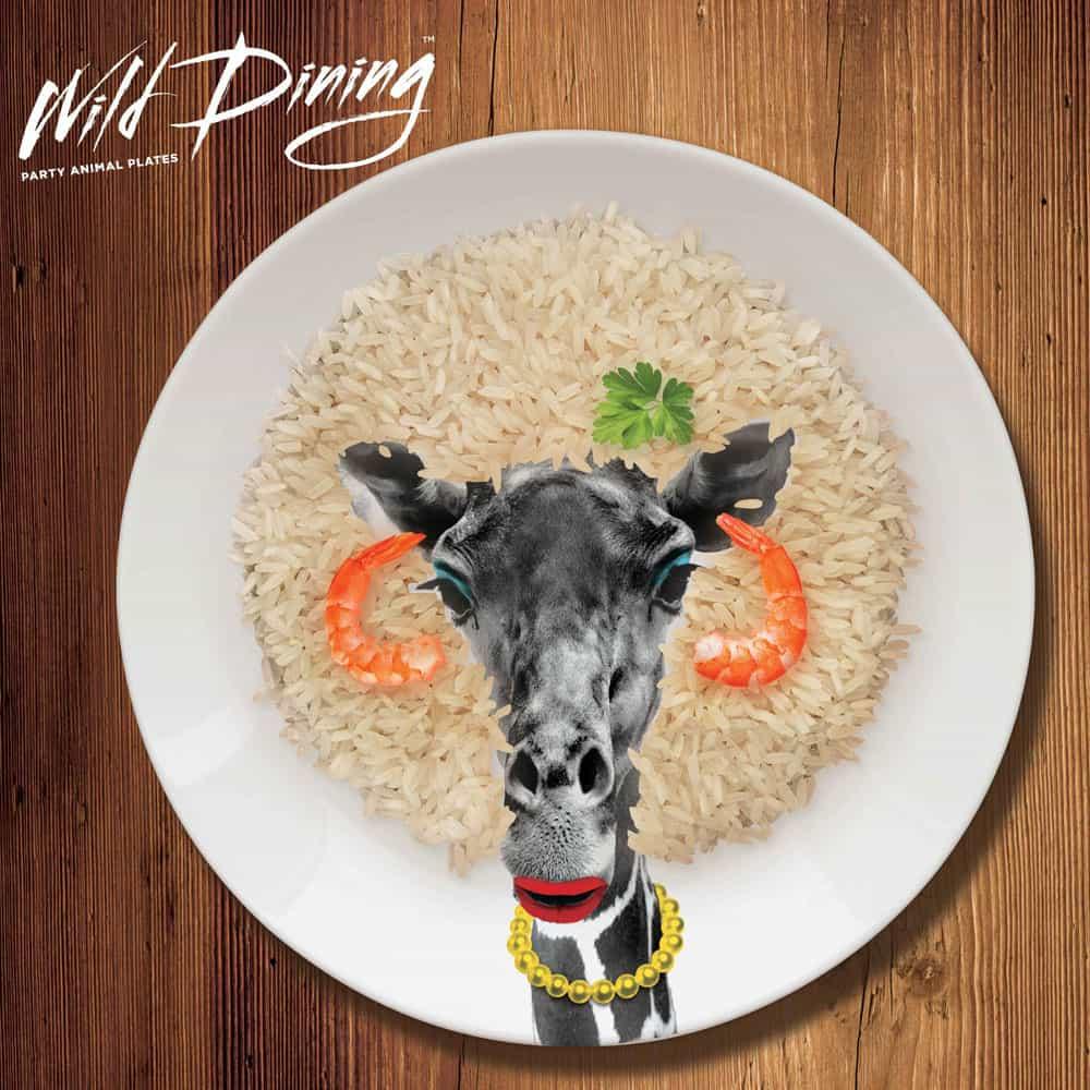 Mustard Wild Dining Dinner Plate  Novelty Giraffe