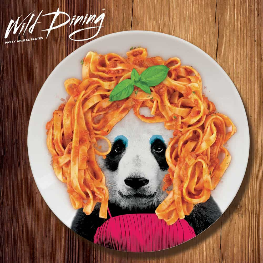 Mustard Wild Dining Dinner Plate  Sphagetti Panda