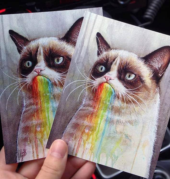 Olechka Design Grumpy Cat Rainbow Postcard Cool Geek Gift Idea