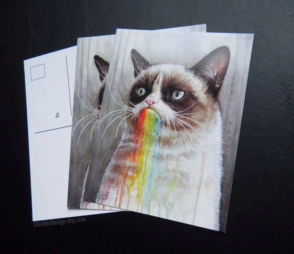 Olechka Design Grumpy Cat Rainbow Postcard Funny Gift Idea