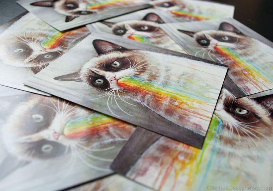 Olechka Design Grumpy Cat Rainbow Postcard Unique Artwork