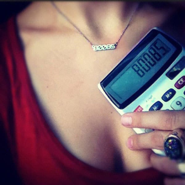 Rock Love 80085 Geek Girl Necklace Retro Calculator