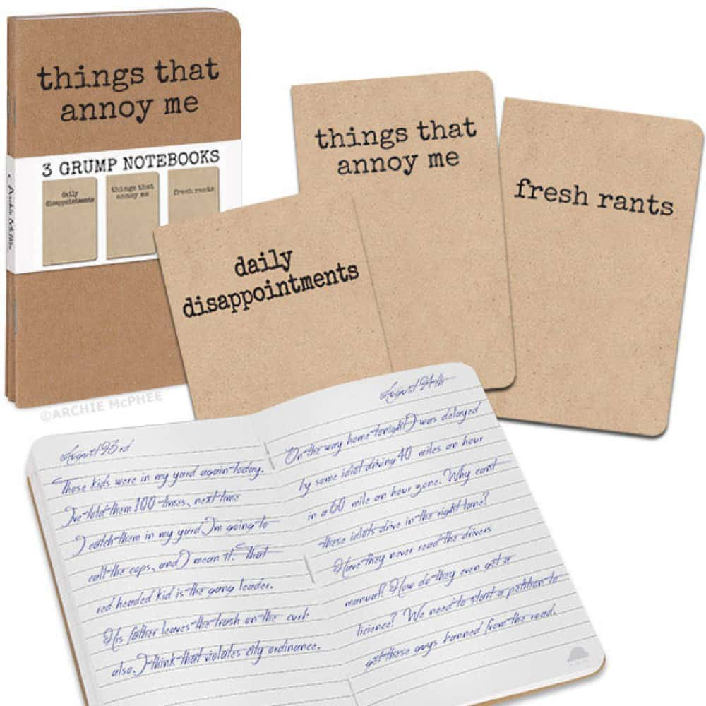 Accoutrements Things That Annoy Me  3 Grump Notebooks Buy Funny Gift