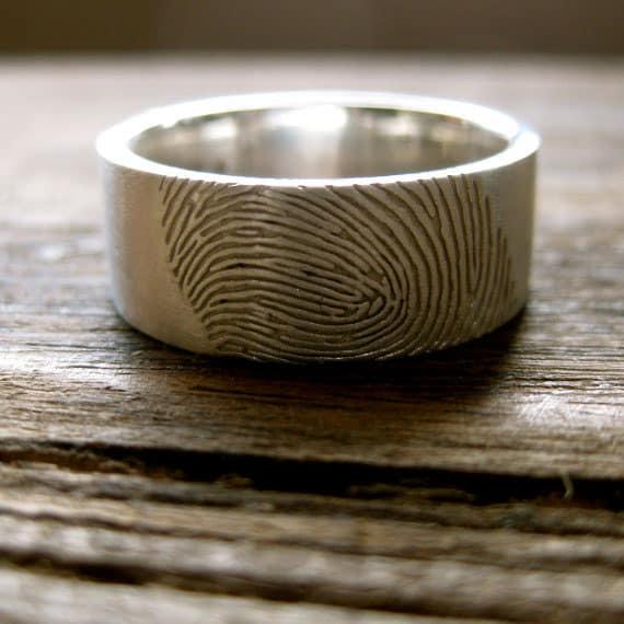 Adzias Atelier Wide Finger Print Wedding Ring Cool Idea