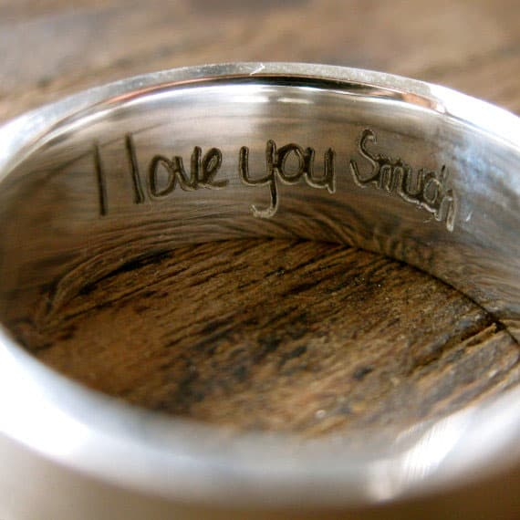 Adzias Atelier Wide Finger Print Wedding Ring I love You Message