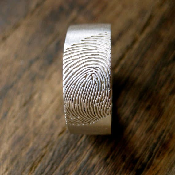 Adzias Atelier Wide Finger Print Wedding Ring Personlized Design