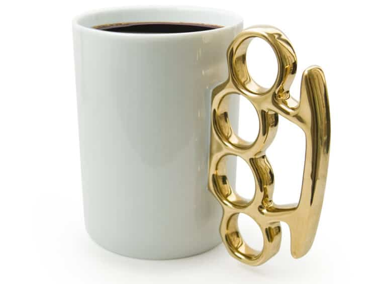 Thabto Knuckle Duster Mug White Version Gangster Gift Idea