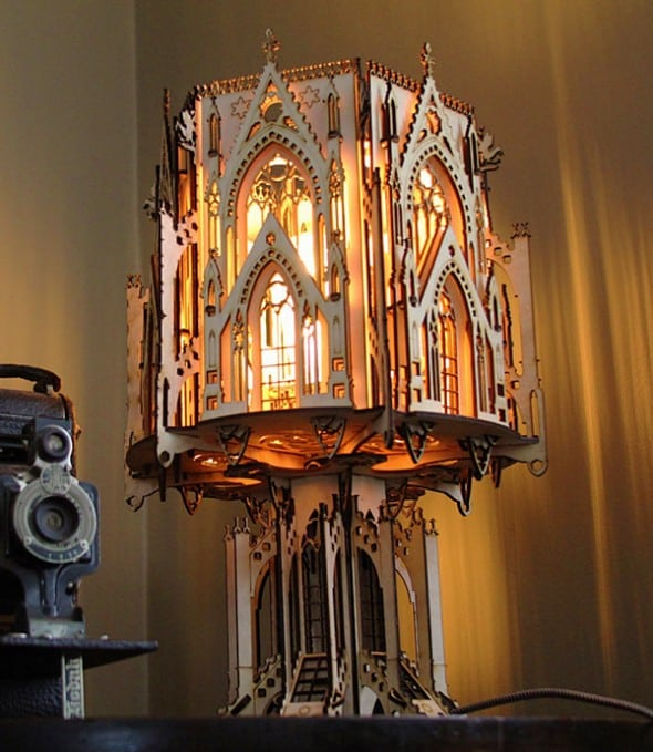 1Man1Garage Gothic Cathedral Wood Sculpture Lamp Cool Gift Idea