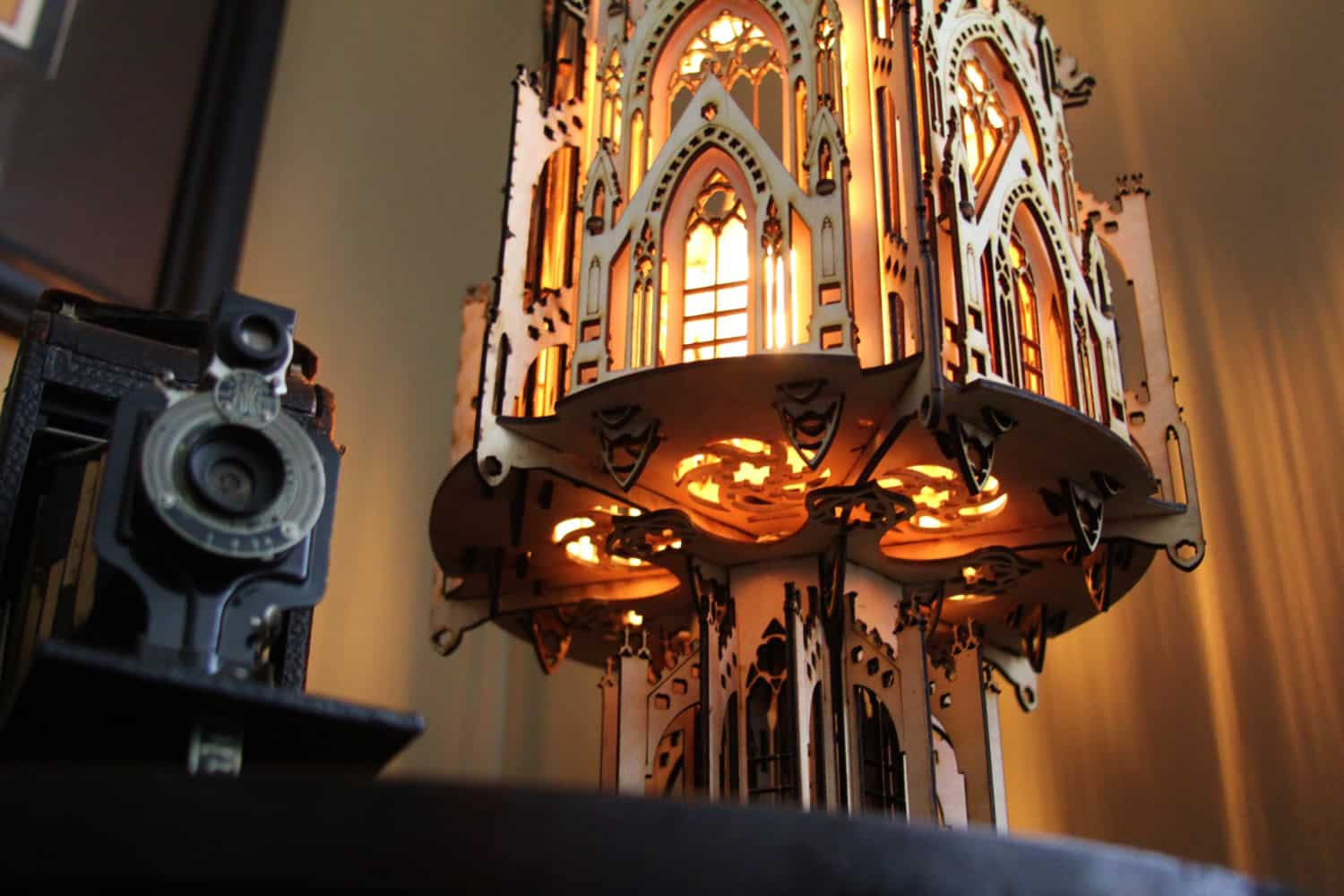 1Man1Garage Gothic Cathedral Wood Sculpture Lamp Flying Butress Detail