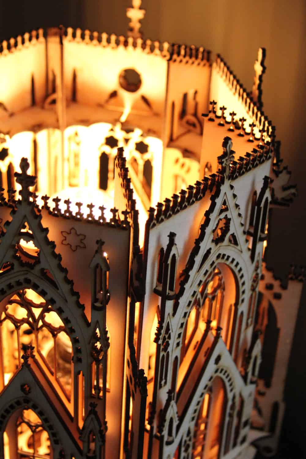 1Man1Garage Gothic Cathedral Wood Sculpture Lamp Wooden Shade