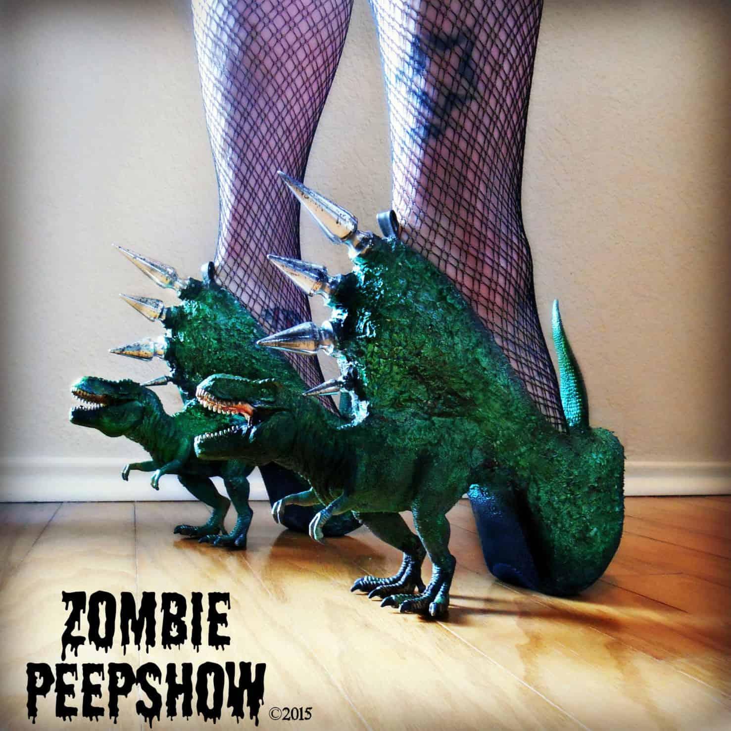 Zombie Peepshow T-Rex Dinosaur Spike Heels Biker Chick Shoes