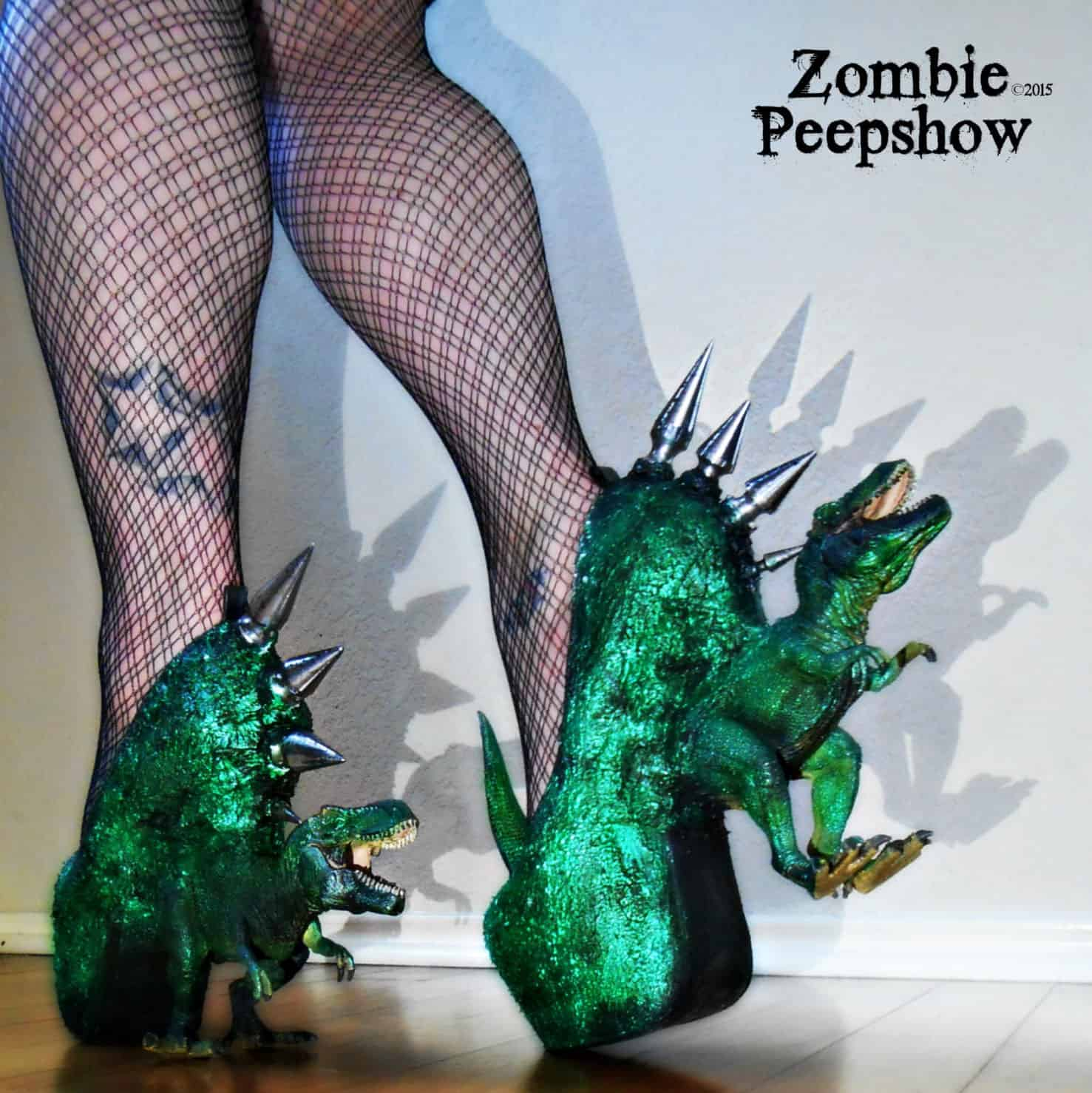 Zombie Peepshow T-Rex Dinosaur Spike Heels Cool Gift for Trendy Girlfriend