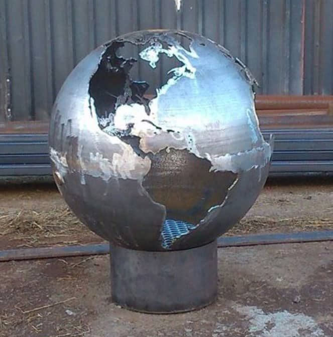 Craftsmen in Metal UK Fire Sphere Sculptural Fire Pit Cool House Warming Gift to Buy