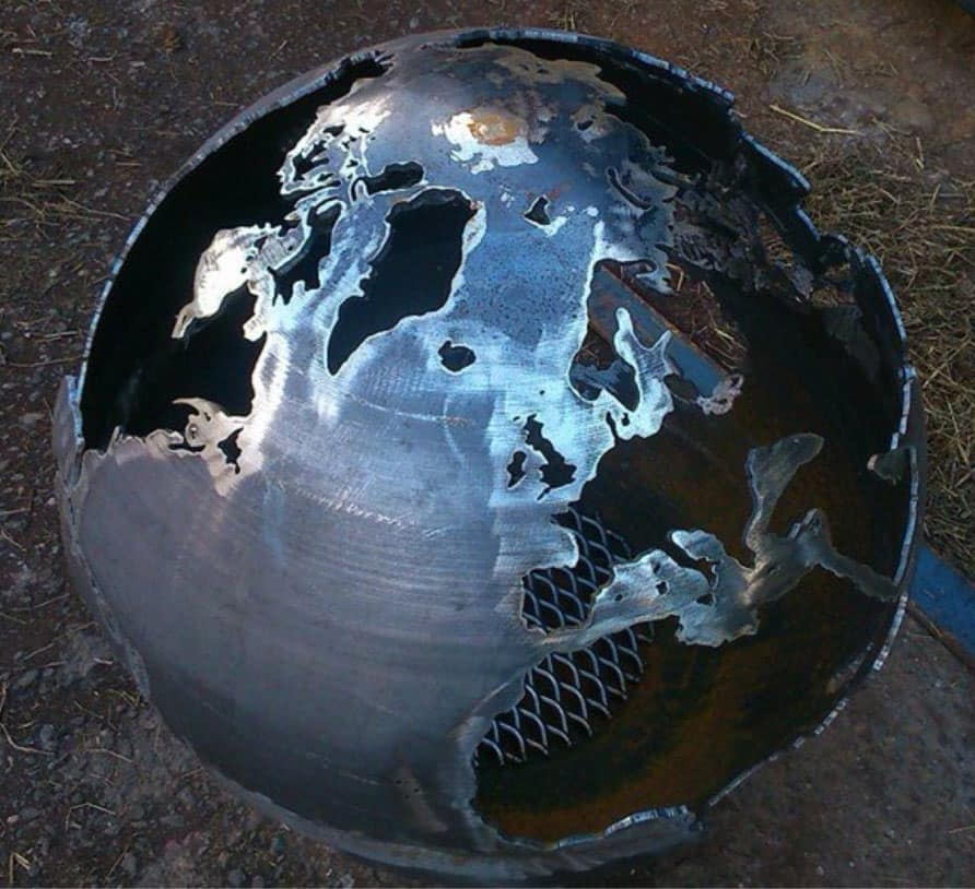 Craftsmen in Metal UK Fire Sphere Sculptural Fire Pit Silver Earth