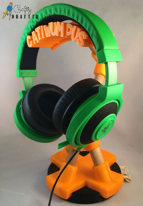 Crafty Drafter Gamer Tag Headphone Stand Green and Orange
