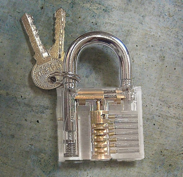 Hone your lock picking skill with a transparent padlock.