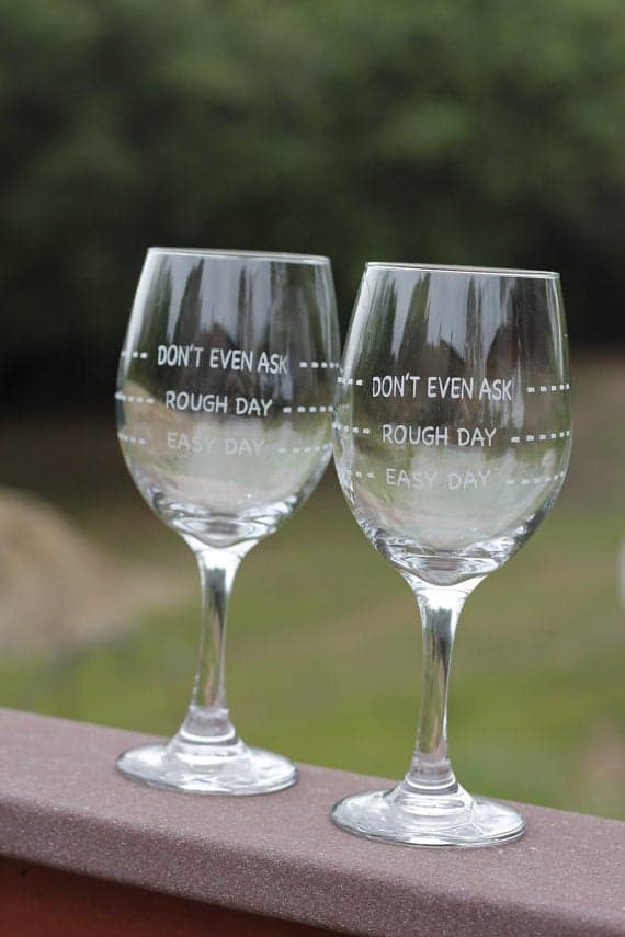 Etched Expressions 2 Rough Day Wine Glasses Gift Idea for Moms