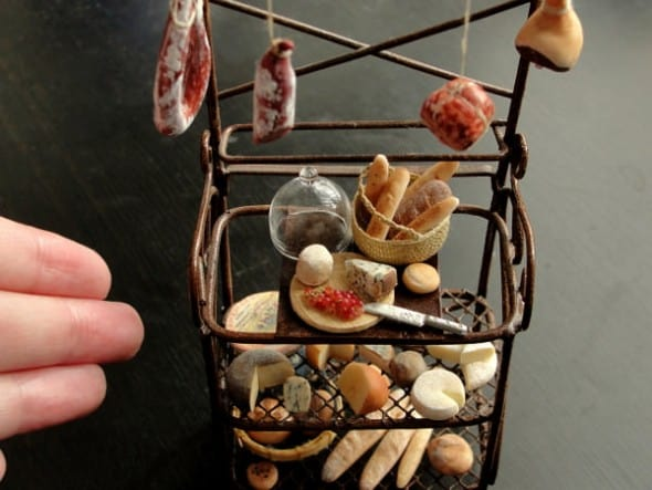 Fairchildart Dollhouse Miniature Food Bakers Rack Gift for Daugther