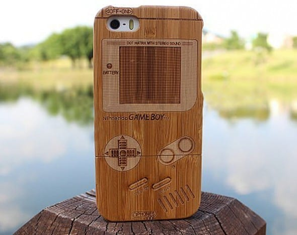 Game boy Bamboo Wood Case Cover for iPhone Retro Accessory