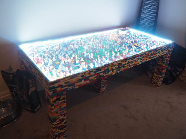 Legotings Handmade Lego Table with over 250 Mini Figures Awesome Glow