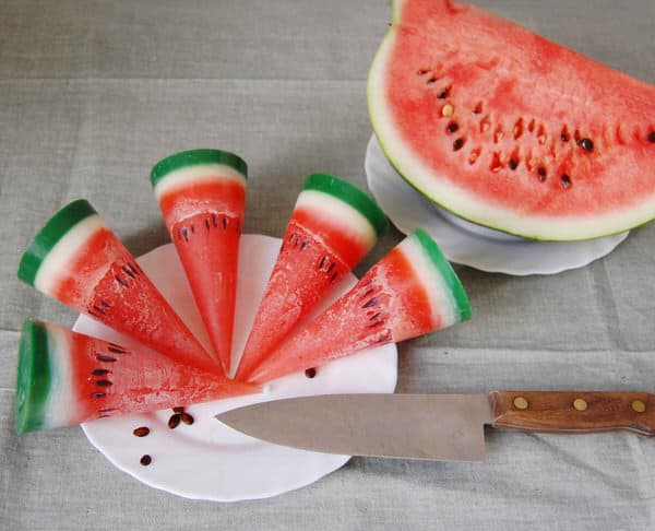 Less Candles Hand Painted Watermelon Candle Cone Like the real Thing