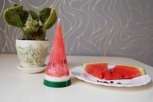Less Candles Hand Painted Watermelon Candle Cone with Cactus
