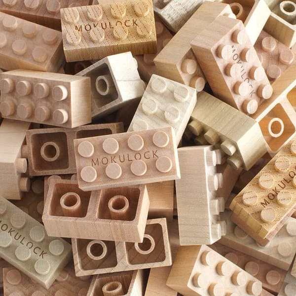 Mokulock Wooden Building Blocks Organic Lego