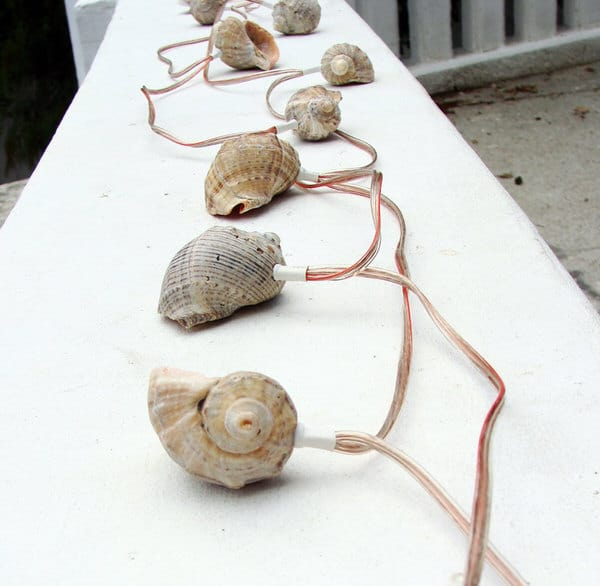 More than Sea Glass Sea Shell Garland Strand of Lights With Wires