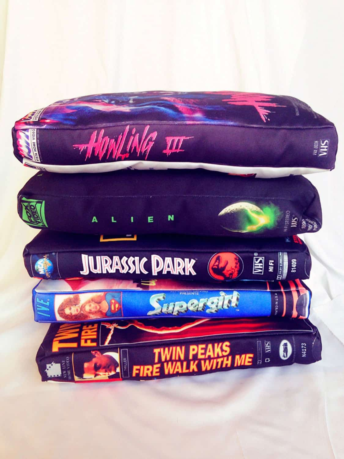 The UFO Party Oversized VHS Pillow Stacks of Tape